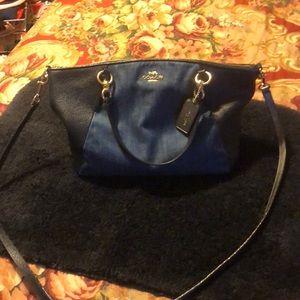 Coach denim leather bag